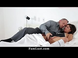 Horny Step Daughter Lets Her Daddy Fuck Her to Skip School