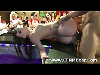 Young brunette amateur CFNM babe fucks stripper at party