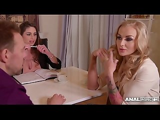 Anal inspectors cum hard when Cathy Heaven & Kayla Green share his dick
