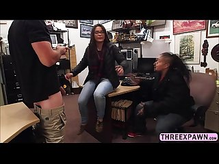 Pure lesbian brunette asked to sucked cock in the pawnshop for her freedom