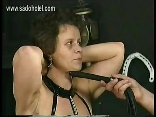 Older slave with fat ass got spanked and wooden clamps on her hanging tits by master