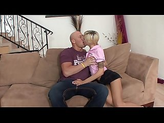 Bald guy removes skinny cutie Emma Mae's sexy skirt and rails her in living room