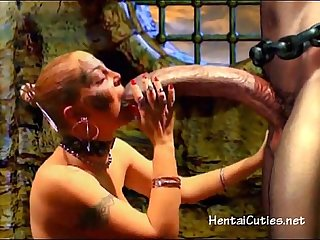 Blonde 3d cutie sucking giant alien cock