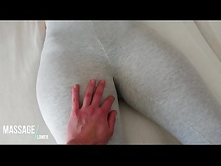 Touching her pussy in grey Yogapants