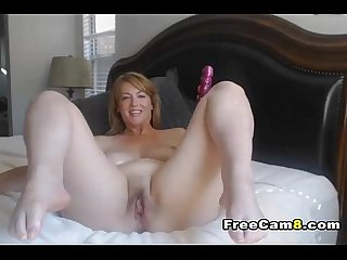 Elegant milf masturbate while husband is out