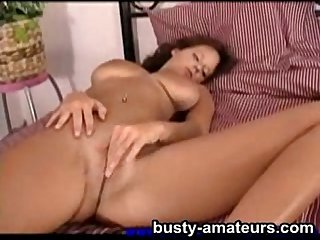 Busty amateur Wendy playing her pussy