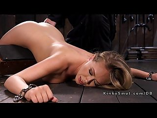 Very hot busty blonde toyed in bondage