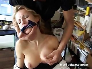 Blonde ist tied up and forced to fuck