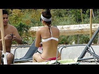 Teen in a thong bikini