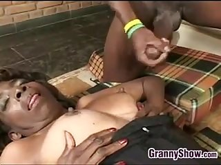 Horny black grandma getting pounded