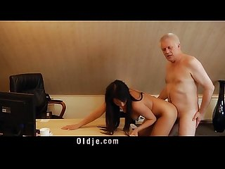 Smutty profesor fucks sweet 18 girl on his desk