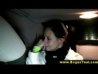 Real eurosex babe sucks her taxi drivers cock