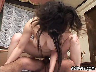 Asian slut is having sex in every position imaginable