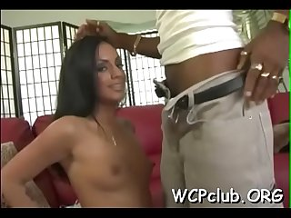 Sexual floozy feels chocolate dick entering her tight anal