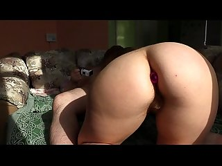 My girlfriend with a anal plug in big ass and with a hairy pussy makes me a first-class blowjob..